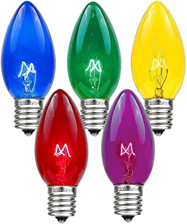 Box of 75 C9 Teal Triple Dipped Transparent Indoor//Outdoor Christmas Bulbs