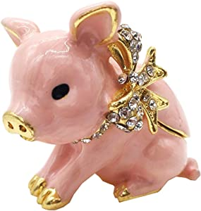 Waltz&F Handcrafted Pewter Trinket Box Jeweled New Lovely Pig Jewelry Box