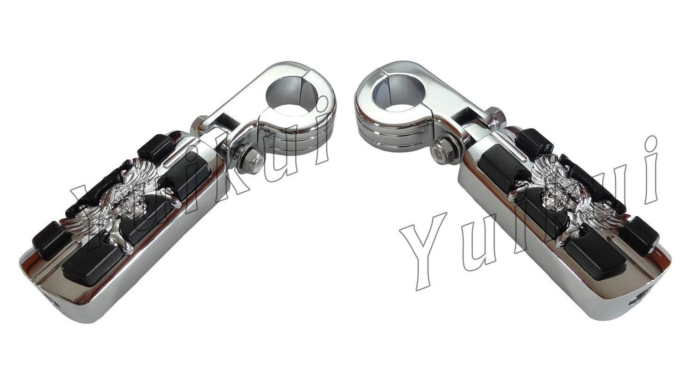 YUIKUI RACING オートバイ汎用 1-1/4インチ/32mmエンジンガードのパイプ径に対応 スカル髑髏男性マウント ハイウェイフットペグ タンデムペグ ステップ YAMAHA XV 250/535/750 VIRAGO All years等適用   B07PT6JSLC