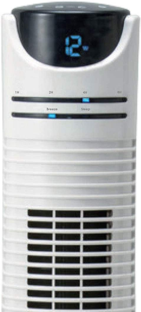 NSAuk TFDC-46RC Eco Tower Fan with Quiet Mark Approval and Energy Saving DC Motor, Silent Oscillation, Remote Controlled, 22 W, Gloss White