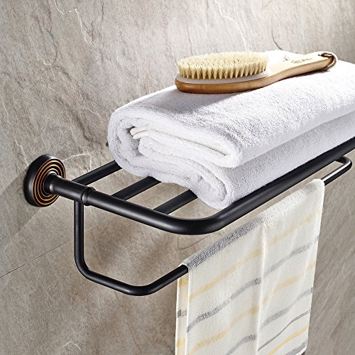 Chic Leyden Brass Triple Black Bath Towel Bar Towel Shelf Towel Rack Towel  Hanger With Rack