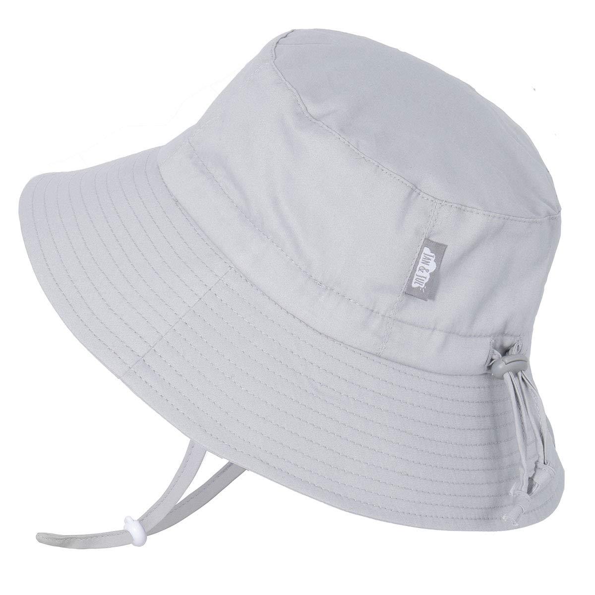 JAN & JUL Toddler Boys Girls Cotton Bucket Sun Hats 50 UPF, Drawstring Adjustable, Stay-on Tie (M: 6-24m, Grey)