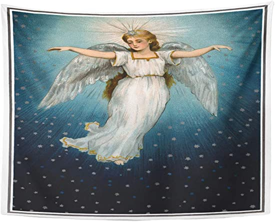 Emvency Wall Tapestry Blue Vintage Christmas of Angel Flying in Starry Night Sky Circa 1890 Nostalgic Heaven Decor Wall Hanging Picnic Bedsheet Blanket 80×60 Inches