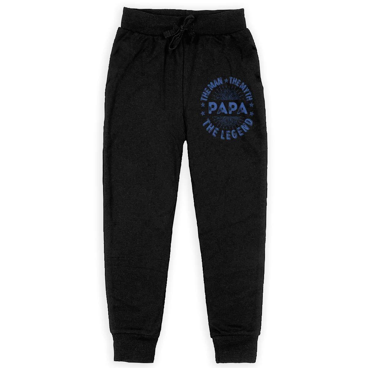 Boys Sweatpants The Man The Myth The Legend PAPA Joggers Sport Training Pants Trousers Black