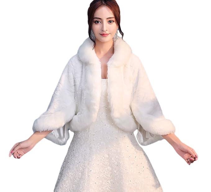 Icegrey Donna Pelliccia Sintetica Inverno Cappotto Avvolgere Bolero Scialle  Da Sposa Per Matrimonio Sera Festa Bianco Avorio  Amazon.it  Abbigliamento 8b96c40f348f