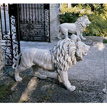 1 Pair 37u0026quot; W Statley Entry Lions Large Garden Statues Sculptures ...