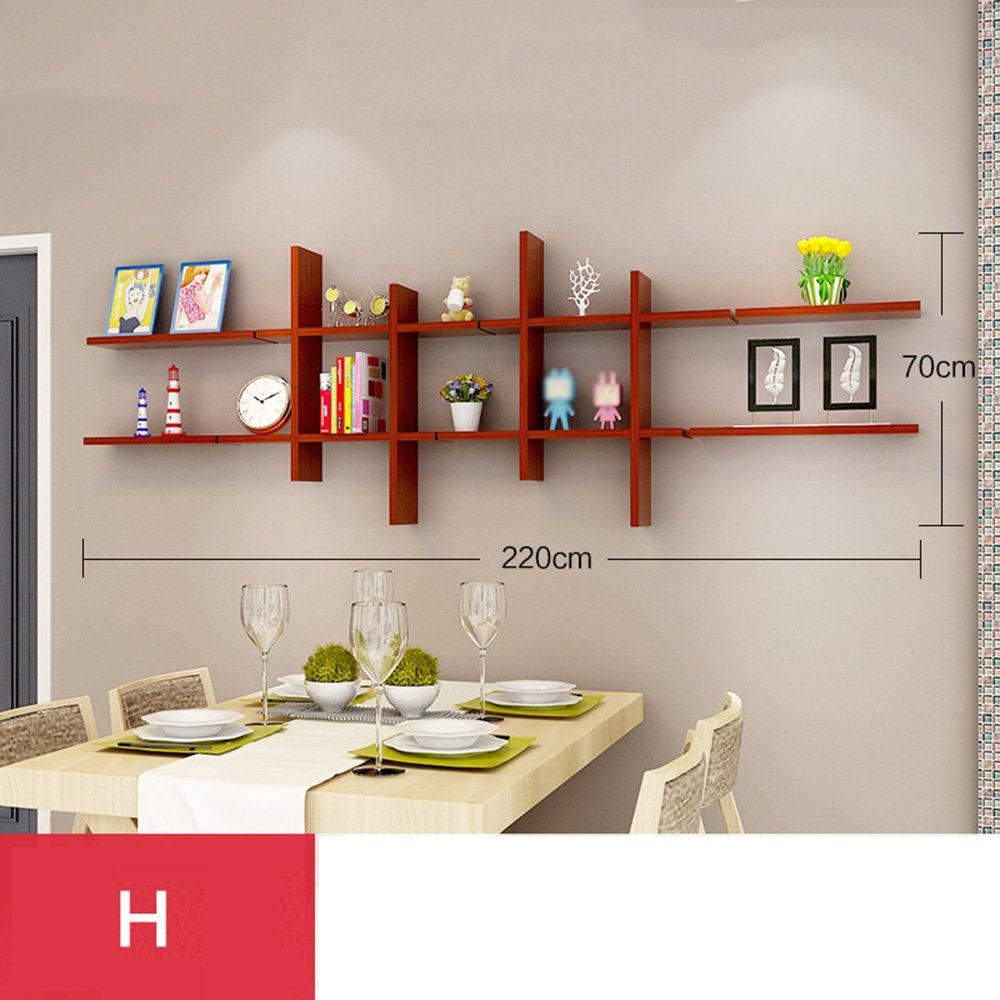 ZR- ソリッドウッド壁の棚壁の本棚テレビの壁の装飾の壁の装飾(複数のスタイルが利用可能) (色 : H h) B07FNMPP2M H h