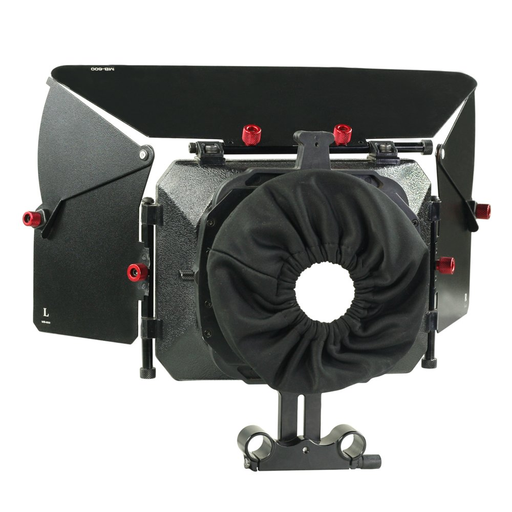 PROAIM MB-600 Full-Featured Sunshade Mattebox with Height Riser for Camera Lenses up to 95mm for 15mm Rail Rod Support Rig, for DSLR Video Canon Nikon Sony BMCC Panasonic Camcorder (P-MB-600) by PROAIM
