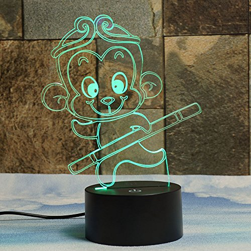[Monkey King 3D Illusion Lamps, Elstey 7 Color Changing Touch Table Desk LED Night Light Great Gifts] (Cute Kid Halloween Songs)