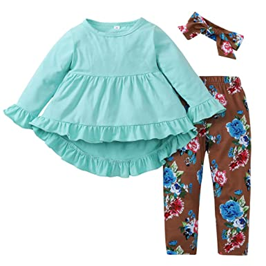 a5574977389d1 Amazon.com: 3 Pc Kids Baby Girls Long Sleeve Fall Tops Dress Outfit ...