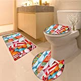 3 Piece Bathroom Rug Set Golden Temple at Night City Lights Holy Shrine Worship for Men and Women Equally Pic Extra Soft Memory Foam Combo - Rug, Contour Mat and Lid Cover