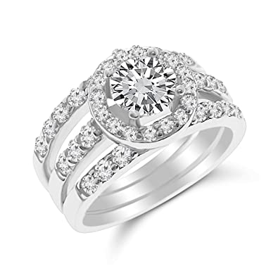 Xp Jewelry Cubic Zirconia Engagement Ring Round Cut Sterling Silver Triple Band Bridal Set Wedding Band