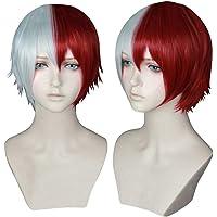 COSPLAZA Unisex Short White Red Mixed Hairs School Boy Teen Academia Anime Hero Style Cosplay Costume Wigs