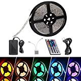 LED Strip Lights,16.4 Ft/5M Led Strip,Flykul 5050 SMD 300 LEDs RGB LED Light Strip Kit Waterproof Flexible Strip Light Full Kit with 44 Key IR Remote Controller and DC 12V 5A Power Adapter