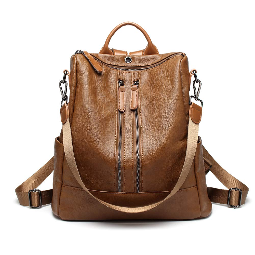 Women Backpack PU Leather Casual Medium Purse Lightweight Earphone Hole Shoulder Bag,Brown