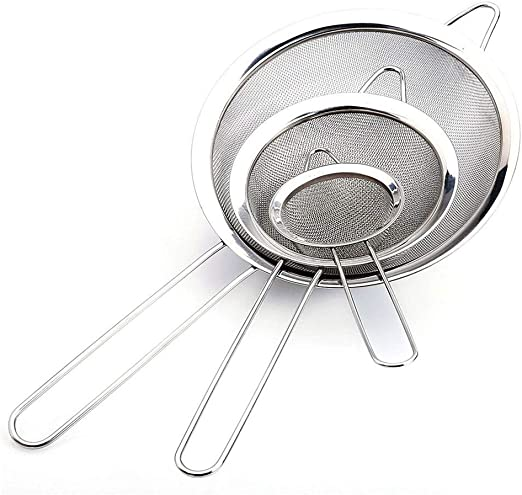 """3PCS Premium Quality-Double Mesh Extra Fine Stainless Steel Strainers 4/"""",5.5/""""/&8/"""""""