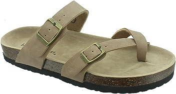 680e0b72b OUTWOODS Women s Bork-30 Vegan Leather Toe-Loop Buckle Flats Sandals
