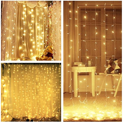 Quntis LED Curtain Lights, LED String Lights 300 LEDs 29V Warm White LED Fairy Icicle Starry Lights Decor for Home Bedroom Kitchen Garden Window Wedding Party Holiday Christmas, UL588 Certified by Quntis (Image #3)