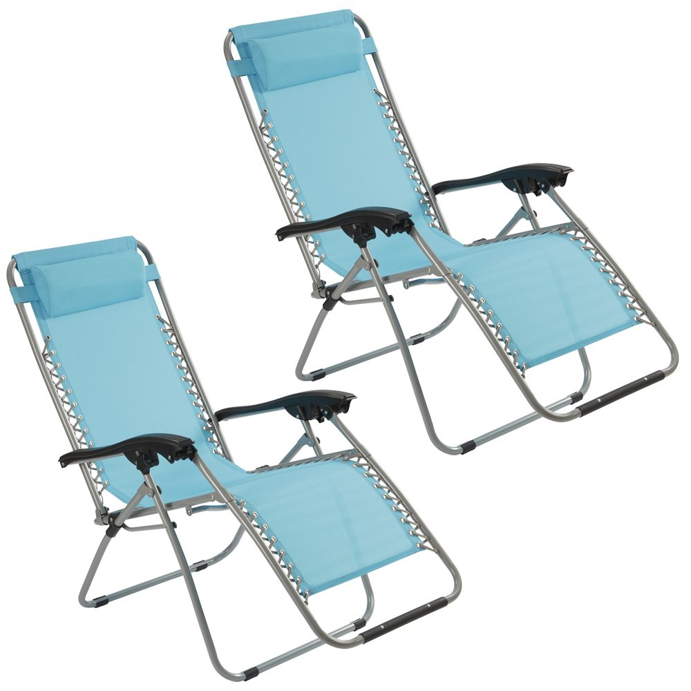 Garden Gear Zero Gravity Chair Recliner Chair with padded Cushion Headrest Folding for Outdoor use Camping, Beach, Reclining Sun Lounger, Deck Chair (Pack of 1, Blue) Clifford James