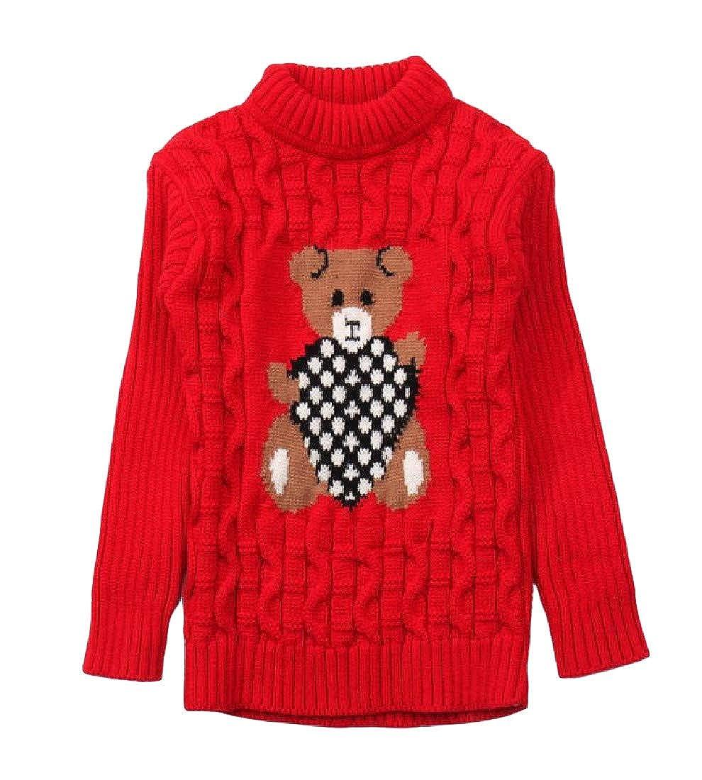 Wofupowga Girls Cute Knit Boys Pullover Jumper Slim Sweaters