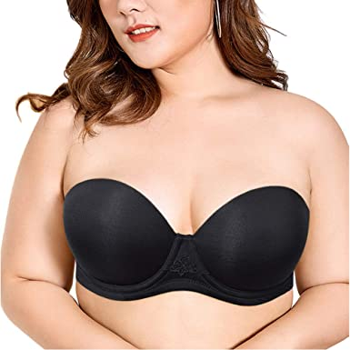 378f0d06c8 Vogue s Secret Women s Strapless Full Figure Plus Size Bra Underwire Multiway  Bras with Clear Straps Black