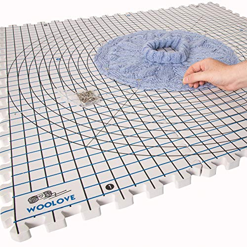 Extra Thick Blocking Mats for Wet and Steam Blocking with Grids and 36 inches Radial Circles Includes 100 t pins Storage Bag and Gloves Blocker