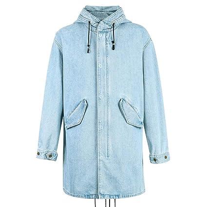 Abrigos Ropa/Hombre/Ropa Chaqueta Vaquera Azul Tendencia Trench Coat Chaqueta Larga para Hombre