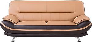 American Eagle Furniture Mason Mid Century Modern Faux Leather Living Room Sofa, 82