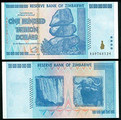 Zimbabwe 100 Trillion Dollars CIRCULATED AA//2008