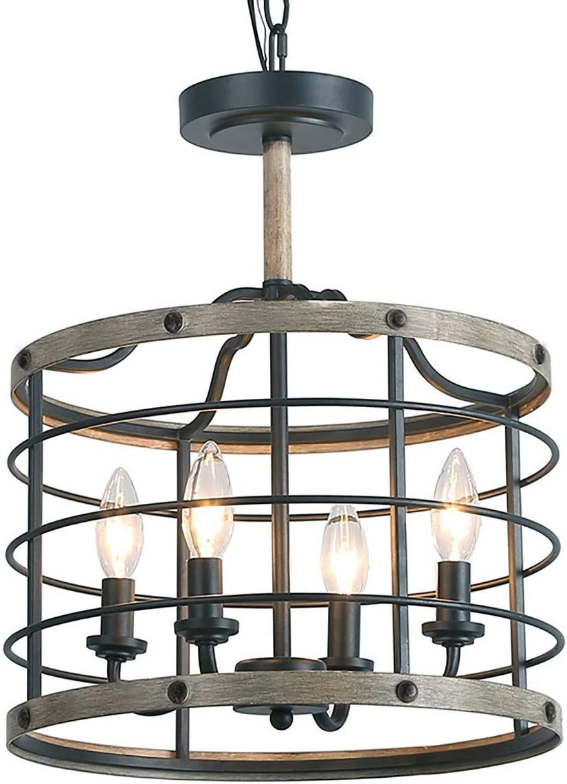 LOG BARN Industrial Cage Chandelier Farmhouse Pendant Lighting 14 inches, 4-Lights Faux Wood Ceiling Hanging Light Fixture for Dining Rooms, Living Room, Kitchen, Hallway