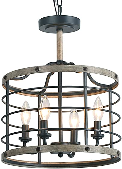 LOG BARN Industrial Cage Chandelier Farmhouse Pendant Lighting 14 inche
