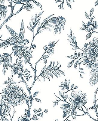 A-Street Prints 2763-24235 Jessamine Floral Trail Wallpaper, Blue
