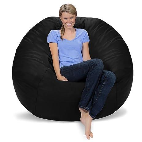 Comfy Sacks 5 Ft Memory Foam Bean Bag Chair Black Faux Leather