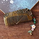 Usforest Unique Gift Original Design Men-Made Sandal Wood Carving Comb Attached Shell Flower and Jade Bell Pendant