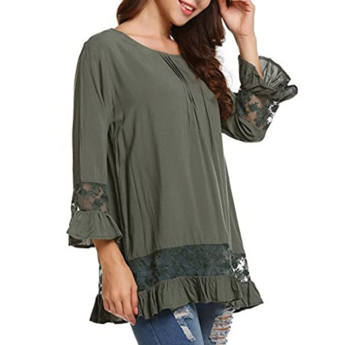 Hibote Mujeres Elegant Blusa T-Shirt - Mujer Casual Cordón T-Shirts Camisas Sexy