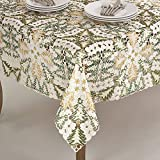 Fennco Styles Embroidered Christmas Tree Cutwork Tablecloths - 2 Sizes (84'' Square, White)