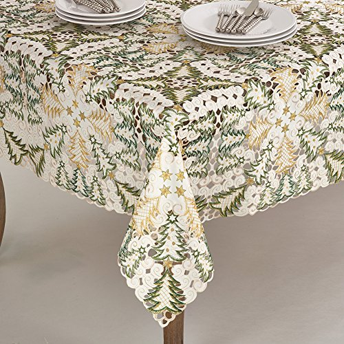 Fennco Styles Embroidered Christmas Tree Cutwork Tablecloths - 2 Sizes (84'' Square, White) by fenncostyles.com