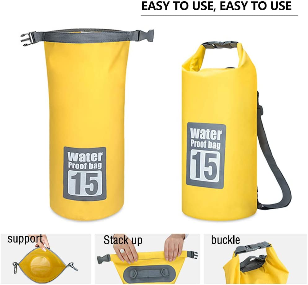 ShenHO Waterproof Dry Bag with Adjustable Straps Zipped Pocket and Handle Perfect for Kayaking//Boating//Canoeing//Fishing//Rafting//Swimming//Camping//Snowboarding