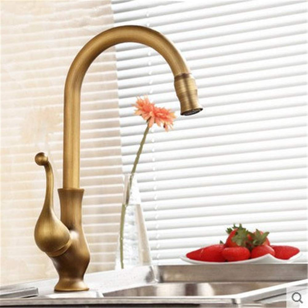 Oudan European-Style Antique Full Copper Kitchen Faucet Vegetables Basin Sink Faucet Retro Basin Taps Hot and Cold Water (color   -, Size   -)