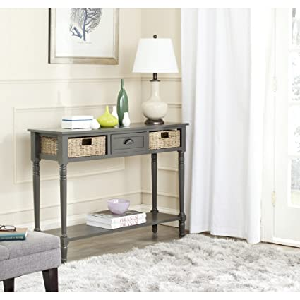 Safavieh American Homes Collection Winifred Grey Wicker Console Table With  Storage