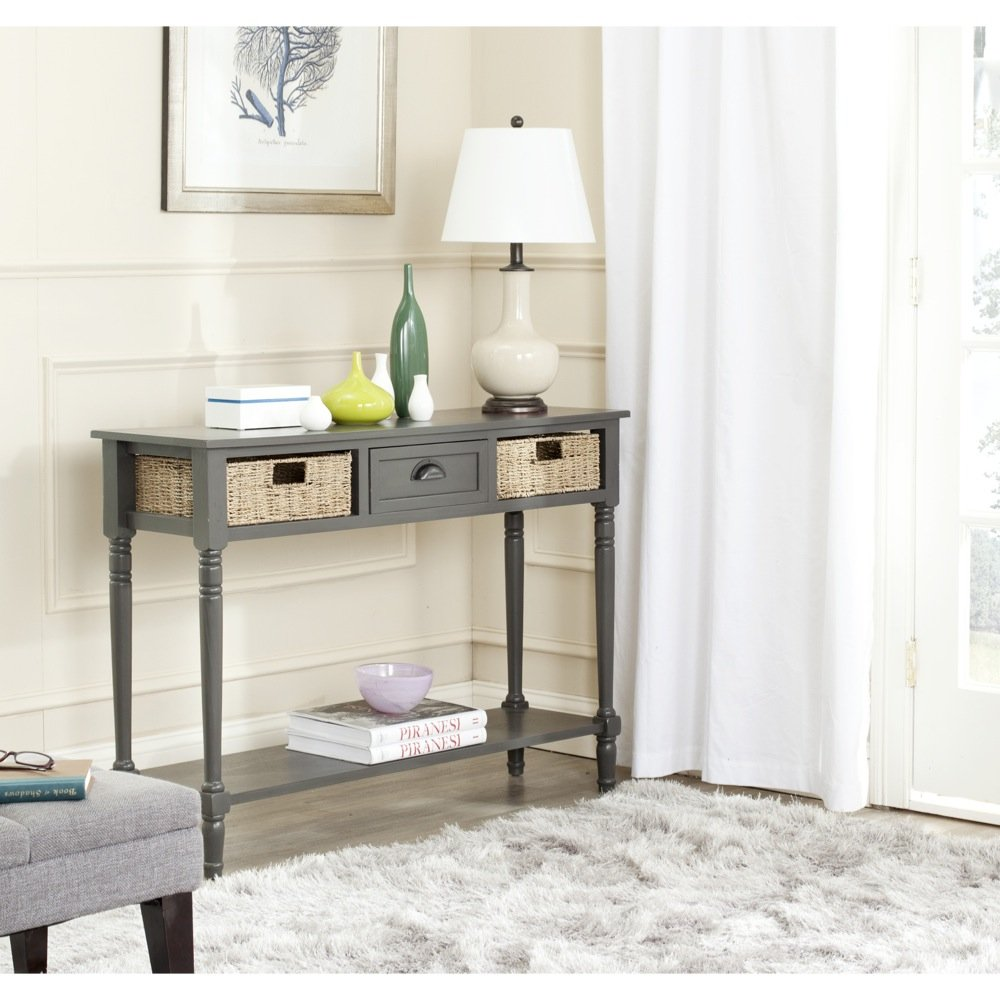 Safavieh Home Collection Winifred Grey Wicker Console Table with Storage