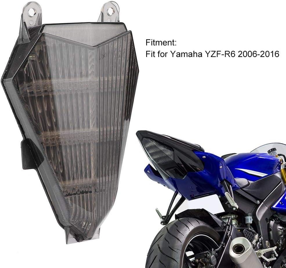 fanale posteriore a LED per moto con indicatori di direzione Lente fum/é Accessorio per moto adatto per Yamaha YZF-R6 2006-2016 Fanale posteriore per moto