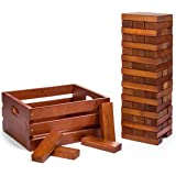 Tailgating Pros Giant Wooden Tumbling Timbers - Stained - 60 Block Tower Stacking Game - W/ Wooden Crate