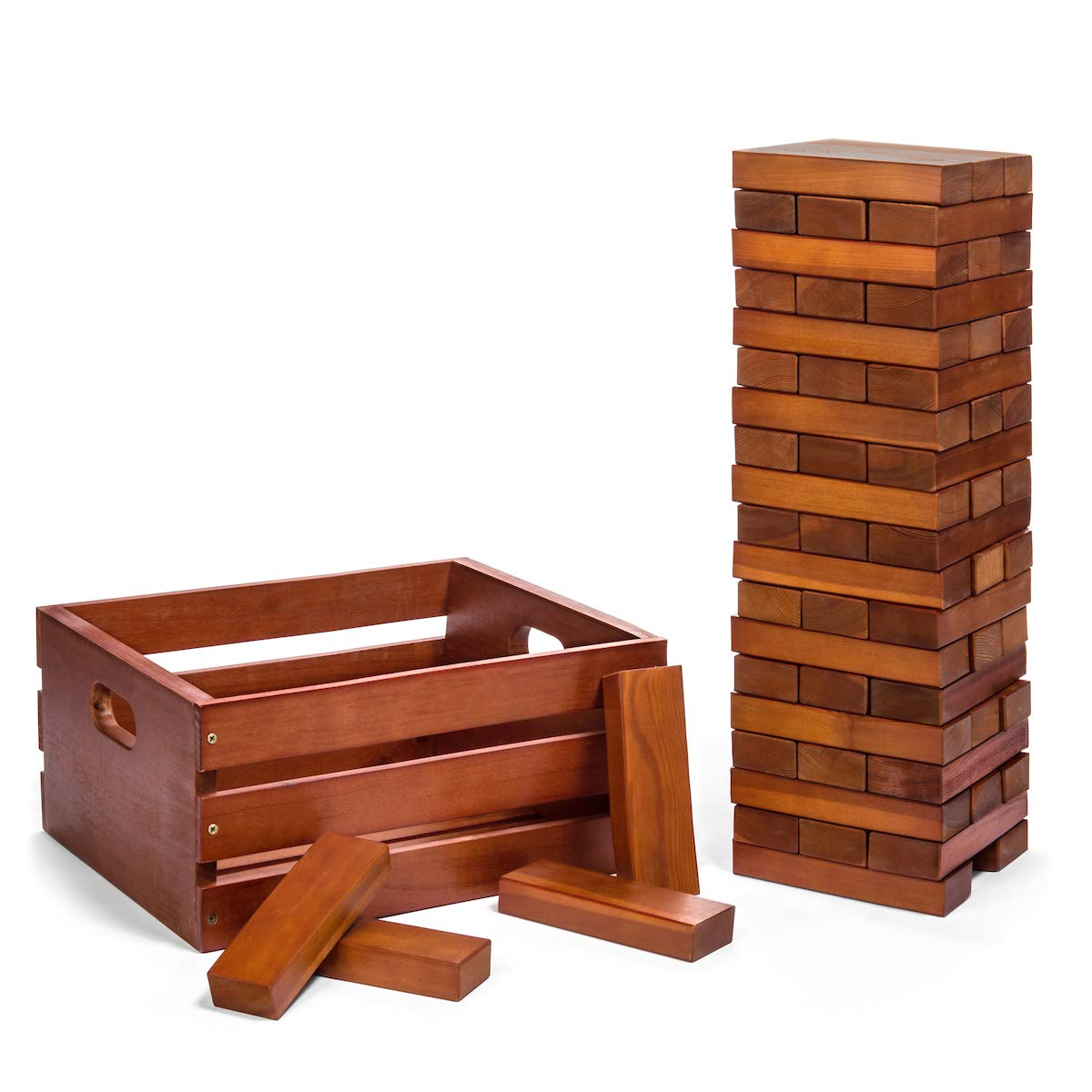 Tailgating Pros Giant Wooden Tumbling Timbers - Stained - 60 Block Tower Stacking Game - W/ Wooden Crate by Tailgating Pros