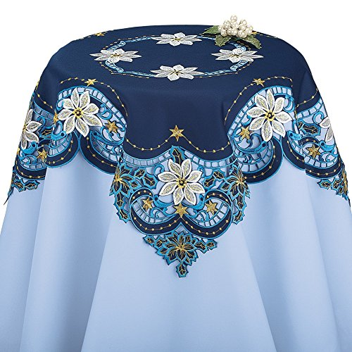 Collection Poinsettia - Collections Etc Blue Embroidered Christmas Cutout Table Linens with White Poinsettias and Scroll Design, Square