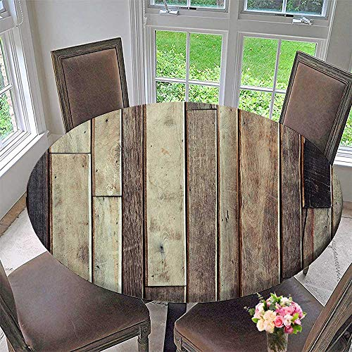 Mikihome Round Premium Table Cloth Wooden Planks Flooring Wall Style Western Rustic Panel Graphic Print Brown Perfect for Indoor, Outdoor 50