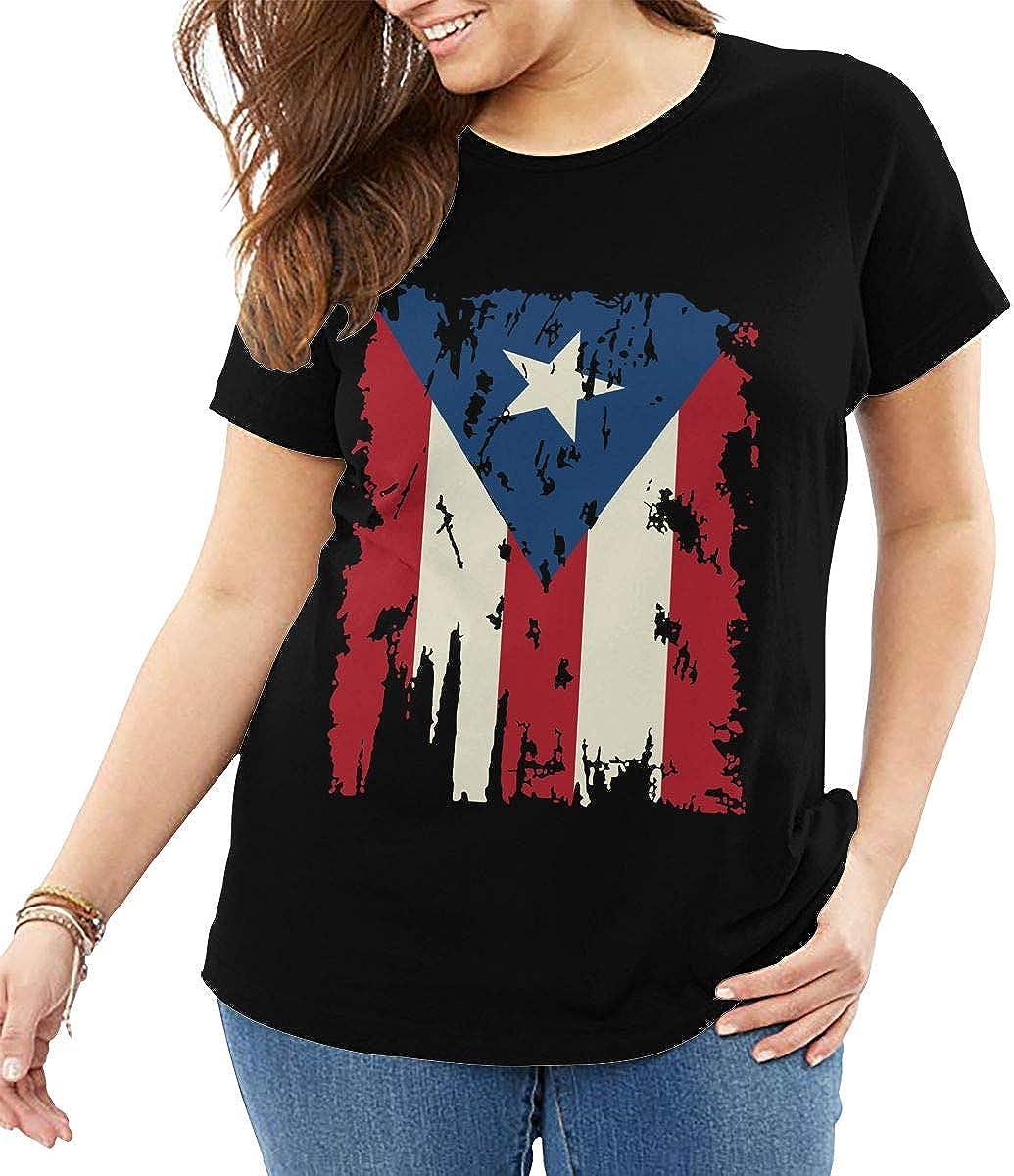 Vintage Puerto Rico Flag Womens Short Sleeve T-Shirt Tee Large Size
