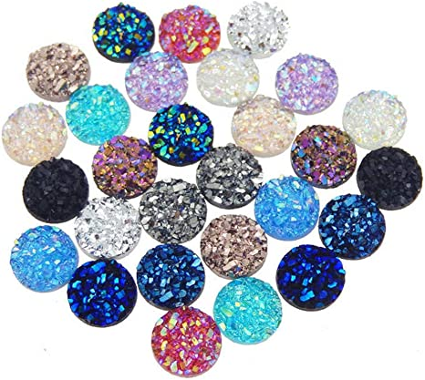 Resin Dome Cabochon Findings Round Glitter for DIY Crafts 10 MM  x 20 Pieces