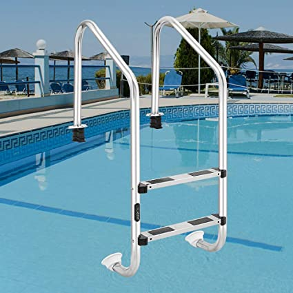 LUISLADDERS Pool Ladders for In Ground Swimming Pools Heavy Duty 2-Step  Stainless Steel Pool Step Ladder with Easy Mount Legs