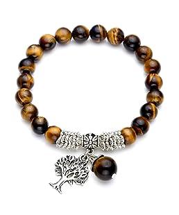 "Top Plaza Stretch Tiger Eye Stone Tree of Life Lucky Stone Bracelet Reiki Healing Crystal Gemstone Dangle Charms Pendant Birthstone Bracelet(6.2"")"